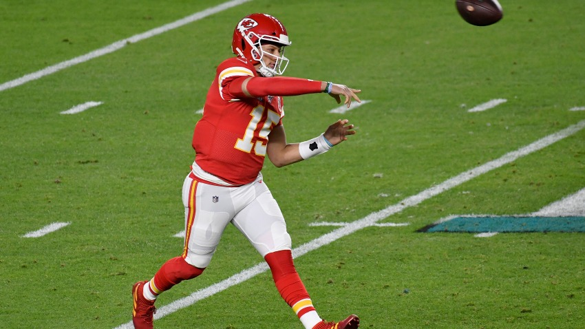 Patrick Mahomes of the Kansas City Chiefs throws a pass against the San Francisco 49ers in Super Bowl LIV at Hard Rock Stadium on Feb. 2, 2020, in Miami. The Chiefs won 31-20.