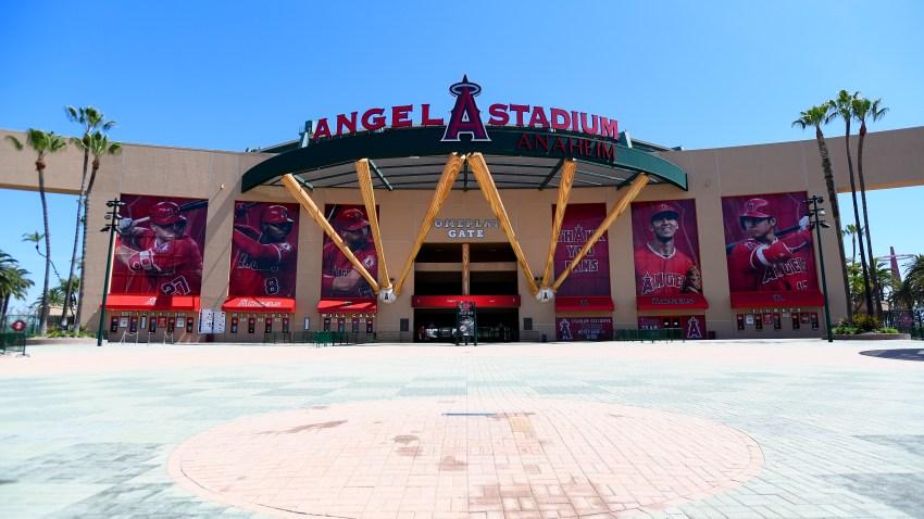 A general view of Angel Stadium in Anaheim.