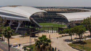 An aerial view shows the Banc of California Stadium in Los Angeles, California
