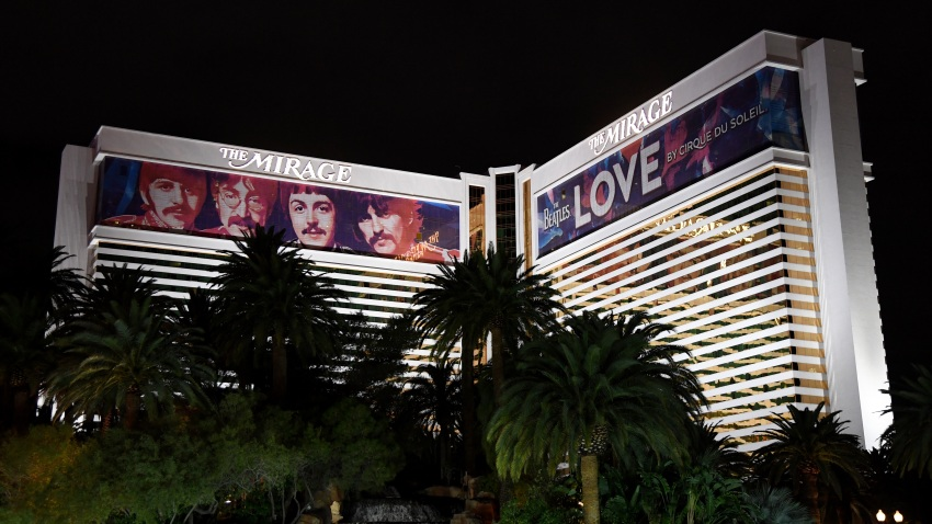 "Building wraps for the ""The Beatles LOVE by Cirque du Soleil"" show are shown on the exterior of The Mirage Hotel & Casino"