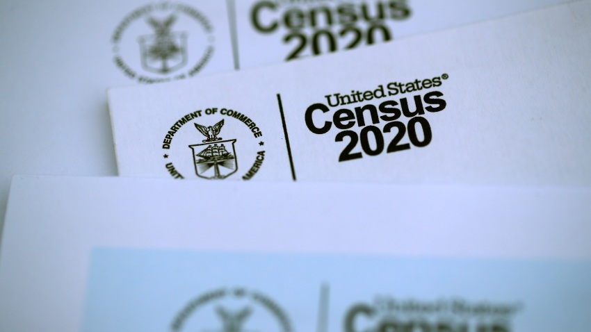 In this March 19, 2020, file photo, the U.S. Census logo appears on census materials received in the mail with an invitation to fill out census information online in San Anselmo, California.