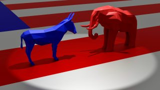 Rendering of the blue donkey and the red elephant in a spotlight representing the Democratic and Republican political parties, respectively, on top of the American Flag.