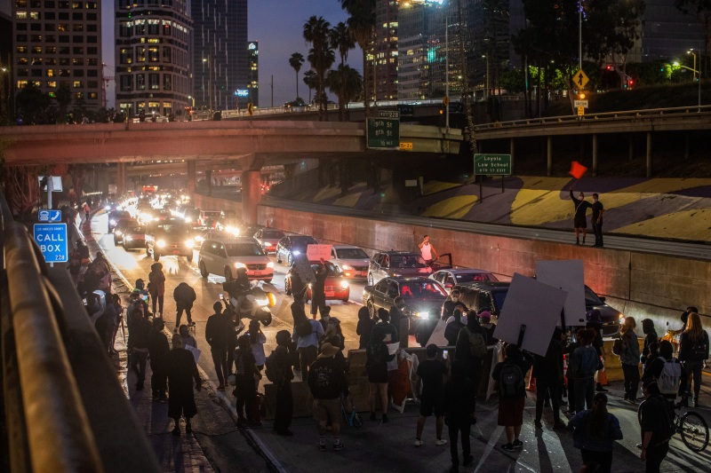 Protesters March on Downtown LA's Streets and Freeways