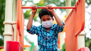 Boy wearing protective face mask while playing at playground.