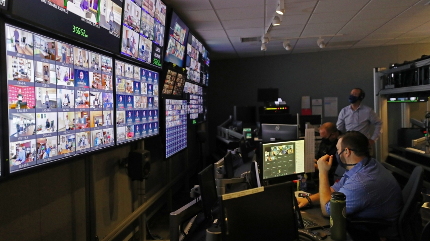 A general view of the control room with all the live feeds for the 2020 Major League Baseball Draft prior to the 2020 Major League Baseball Draft at MLB Network on Wednesday, June 10, 2020 in Secaucus, New Jersey.