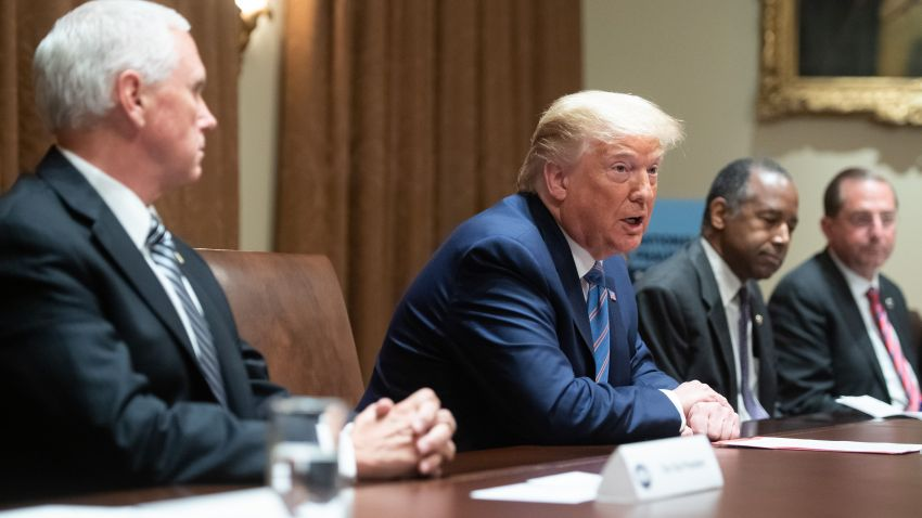 President Donald Trump speaks during a roundtable meeting on seniors alongside Vice President Mike Pence (L), Secretary of Housing and Urban Development Ben Carson (2nd R) and Secretary of Health and Human Services Alex Azar (R), in the Cabinet Room at the White House in Washington, DC, June 15, 2020. - President Donald Trump holds a roundtable discussion with senior citizens called Fighting for Americas Seniors on Monday.