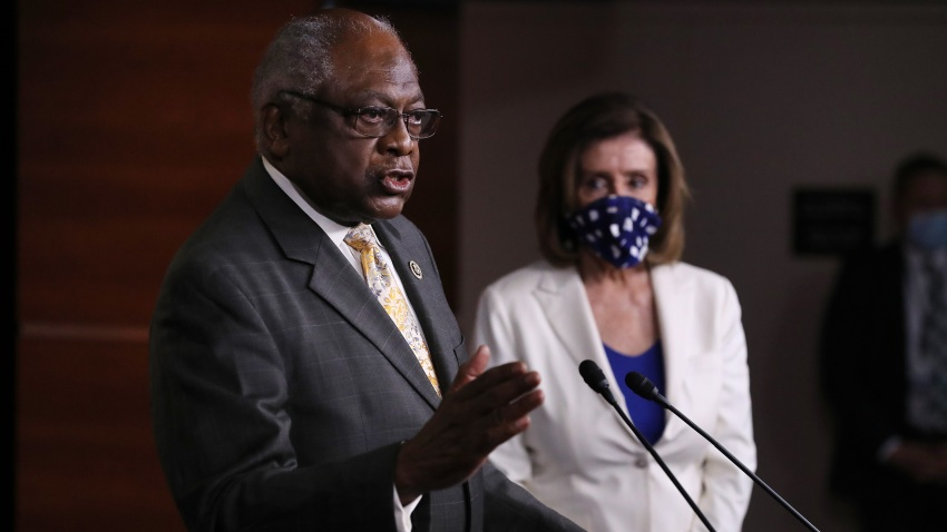 House Majority Whip James Clyburn (D-SC) answers reporters' questions during a news conference with Speaker of the House Nancy Pelosi (D-CA) at the U.S. Capitol April 30, 2020 in Washington, DC.