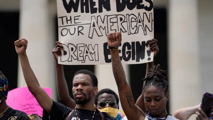 Demonstrators gather at the Lincoln Memorial during a protest against police brutality and racism takes place on June 6, 2020 in Washington, DC.