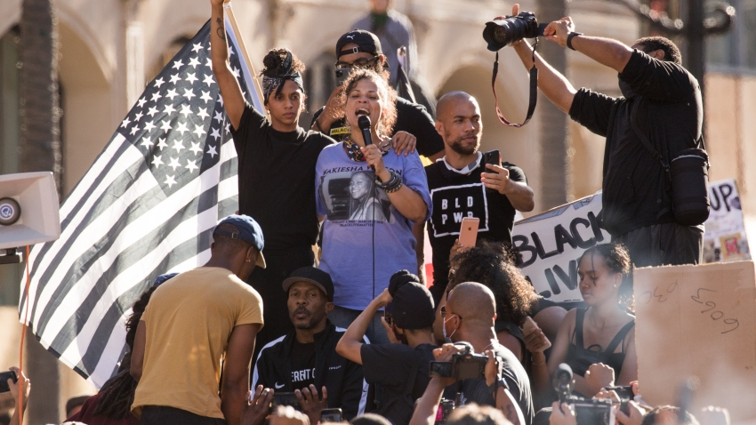 Jayana Khan, Melina Abdullah, Kendrick Sampson and others participate in the YG x BLMLA x BLDPWR protest and march on June 07, 2020 in Los Angeles, California.