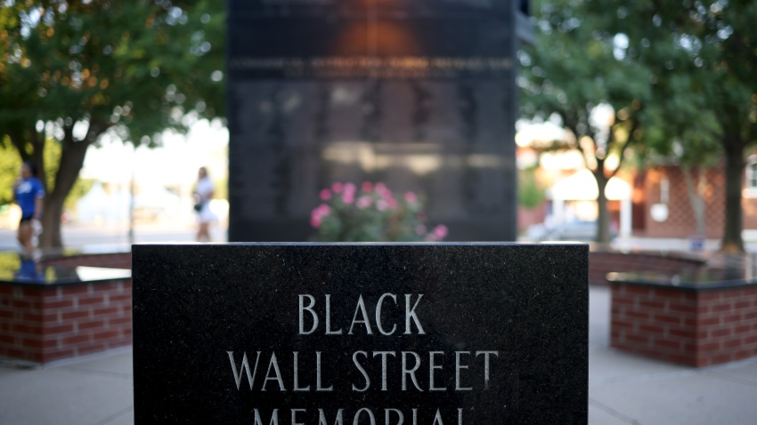 The Black Wall Street Massacre memorial is shown June 18, 2020 in Tulsa, Oklahoma.