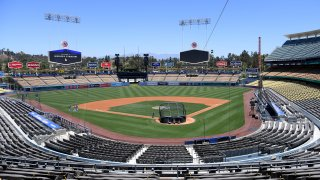 In this July 3, 2020, file photo, general view of the field at a Los Angeles Dodgers summer workout in preparation for a shortened MLB season during the coronavirus (COVID-19) pandemic at Dodger Stadium in Los Angeles, California.