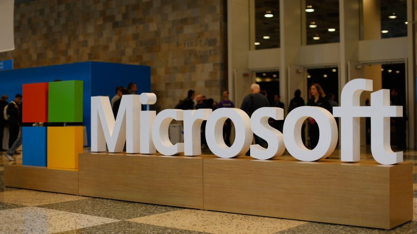 A Microsoft logo is seen during the 2015 Microsoft Build Conference on April 29, 2015 at Moscone Center in San Francisco, California.