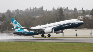 In this Jan. 29, 2016, file photo, a Boeing 737 MAX 8 airliner lifts off for its first flight in Renton, Washington.