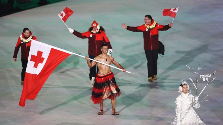 Shirtless Tongan Makes Winter Games Appearance