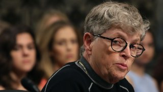 Lou Anna Simon, former president of Michigan State University, testifies during a Senate Commerce, Science and Transportation Committee hearing, on June 5, 2018 in Washington, DC.