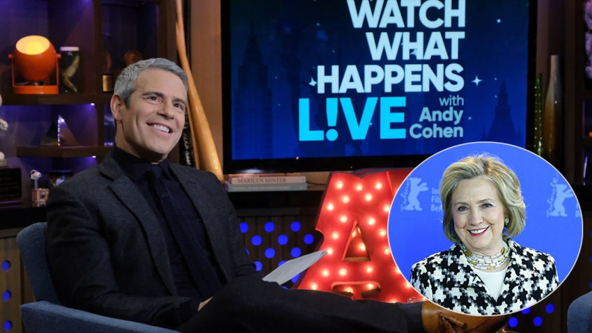 """""""What What Happens Live"""" host Andy Cohen and former Secretary of State Hillary Clinton"""