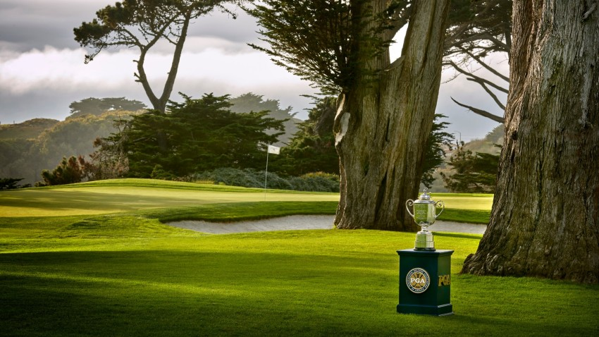 A view of the Wanamaker Trophy hole at TPC Harding Park.