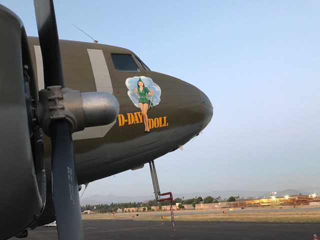 A view of the D-Day Doll World War II plane in Riverside.