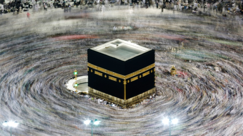 Muslim pilgrims circumambulate the Kaaba, the cubic building at the Grand Mosque, during the hajj pilgrimage in the Muslim holy city of Mecca