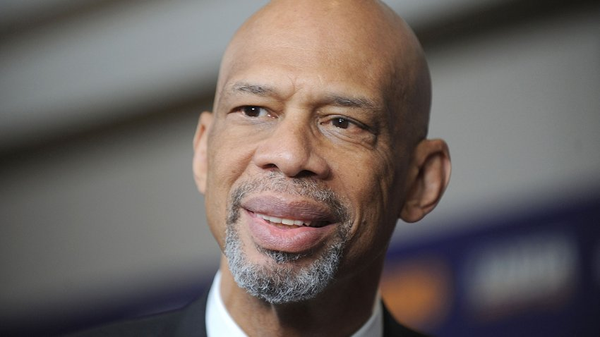 "In this Oct. 26, 2015, file photo, NBA Star Kareem Abdul Jabbar attends the ""Kareem: Minority Of One"" New York Premiere at Time Warner Center in New York City."