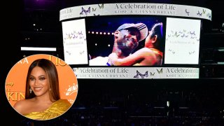 Kobe Bryant and daughter Gianna are pictured on the jumbotron at Staples Center.