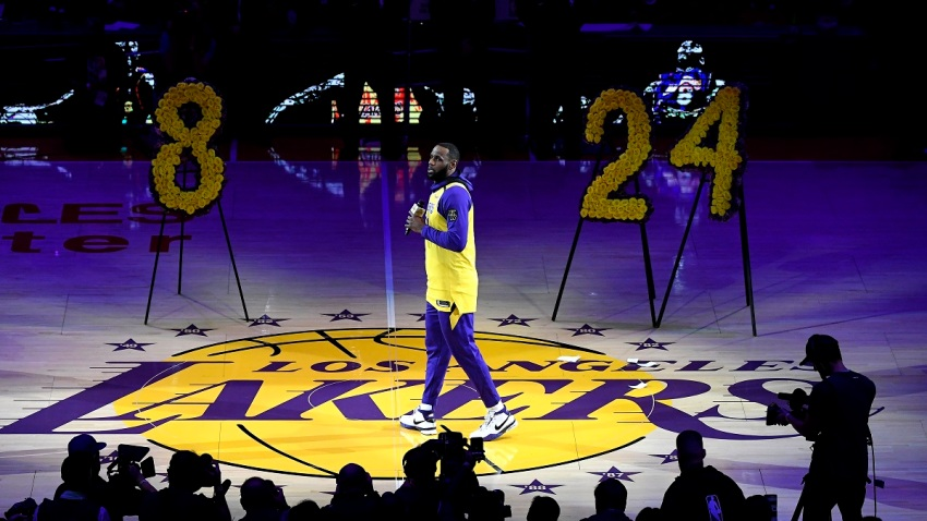 LeBron James #23 of the Los Angeles Lakers speaks during the pregame ceremony to honor Kobe Bryant