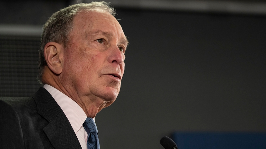 In this Jan. 27, 2020, file photo, Democratic presidential candidate former New York City Mayor Michael Bloomberg speaks during a campaign event in Burlington, Vt.