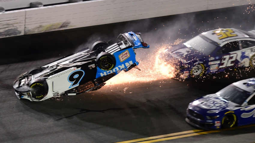 In this Feb. 17, 2020, file photo, Ryan Newman, driver of the #6 Koch Industries Ford, flips over as he crashes during the NASCAR Cup Series 62nd Annual Daytona 500 at Daytona International Speedway in Daytona Beach, Florida.