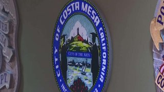 costa mesa city seal on wall