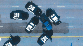Aerial image of police cars after shooting