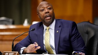 In this May 7, 2020, file photo, Sen. Tim Scott, R-S.C., speaks during a Senate Health Education Labor and Pensions Committee hearing on new coronavirus tests on Capitol Hill in Washington, D.C.