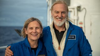 Dr. Kathy Sullivan and Victor Vescovo after their dive to Challenger Deep.