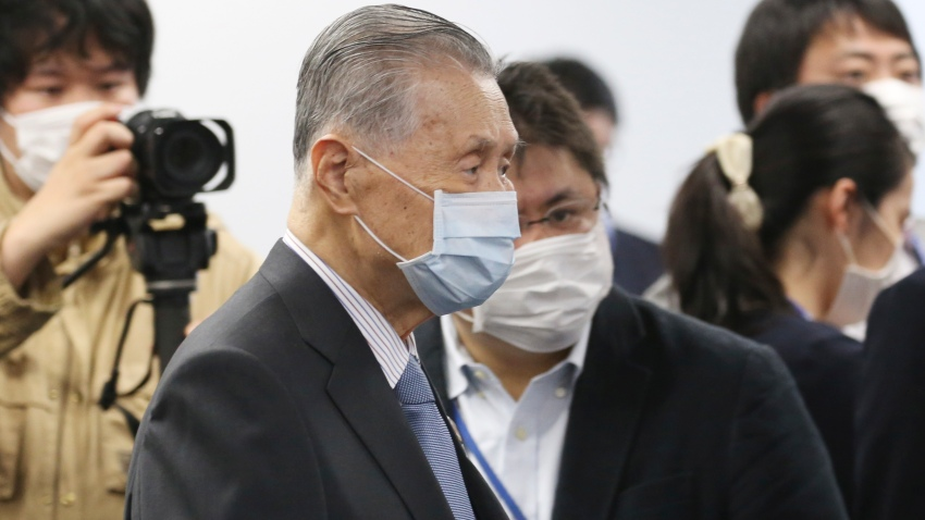 """In this March 26, 2020, file photo, Tokyo 2020 Organizing Committee President Yoshiro Mori arrives for the first meeting of the """"Tokyo 2020 New Launch Task Force"""" in Tokyo, Japan."""