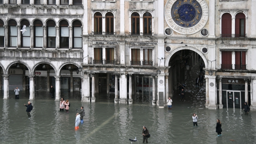 Water floods St. Mark's Square in Venice