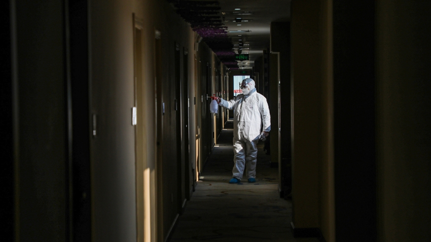 This photo taken on Feb. 3, 2020, shows a medical staff member disinfecting a quarantine zone in a hotel in Wuhan, in China's central Hubei province.