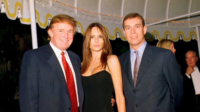 Donald Trump, his girlfriend (and future wife), Melania Knauss, and Prince Andrew, Duke of York, at the Mar-a-Lago estate, Palm Beach, Florida, Feb. 12, 2000.
