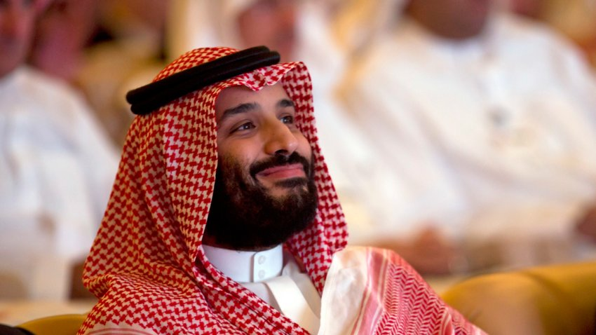 In this Oct. 23, 2018, file photo, Saudi Crown Prince, Mohammed bin Salman, smiles as he attends the Future Investment Initiative conference, in Riyadh, Saudi Arabia.
