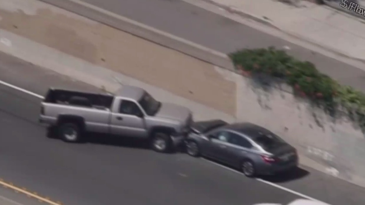 Wrong-Way Pickup Truck Driver Slams Into Car on Freeway in Chaotic South LA Chase