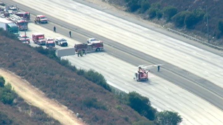 chopper on 210 freeway