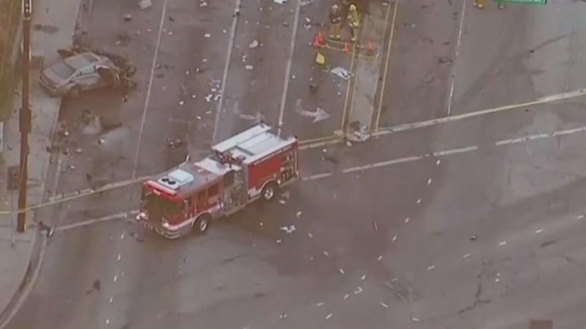 Aerial view of Culver City crash location.