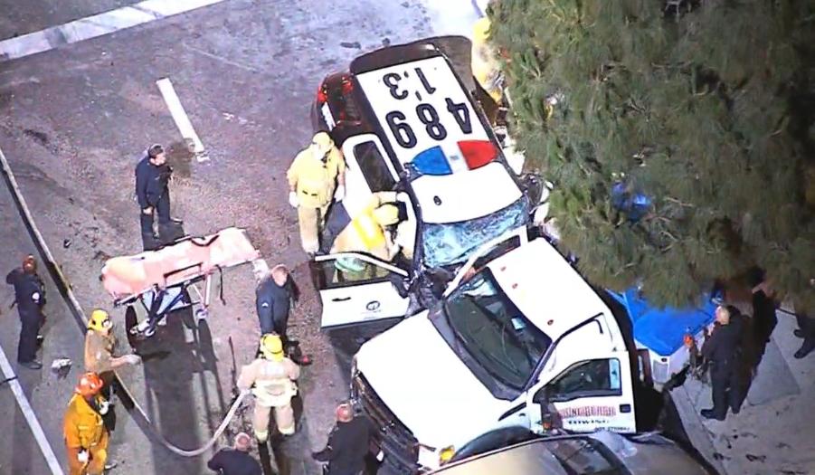 Officer Trapped in Car After Violent Crash in South LA