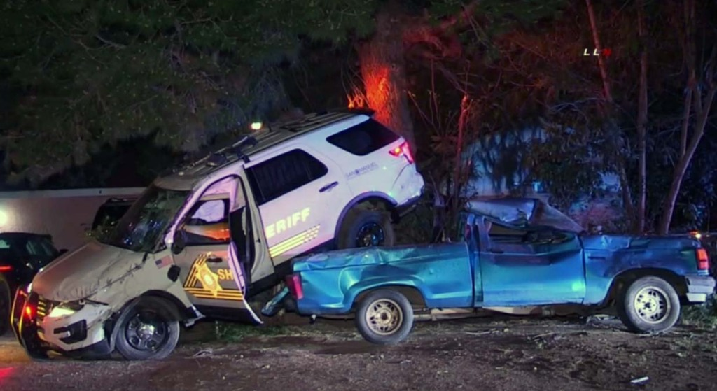A deputy's SUV landed on top of an unoccupied pickup after a chase.