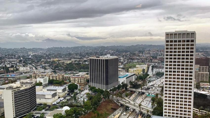 A view of clouds over downtown Los Angeles