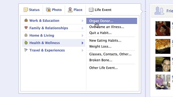 facebook organ donor
