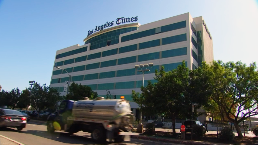 The LA Times building is pictured in this undated file photo.