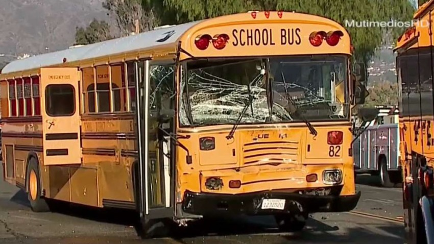 School bus pictured with shattered widnshield