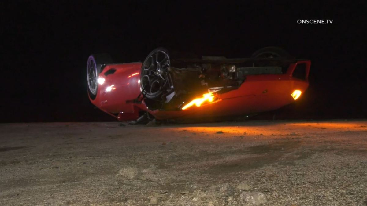 Flipped Red Lamborghini Found on SoCal Mountain Road