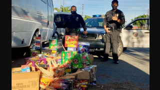 Seized fireworks are pictured in this LAPD photo.
