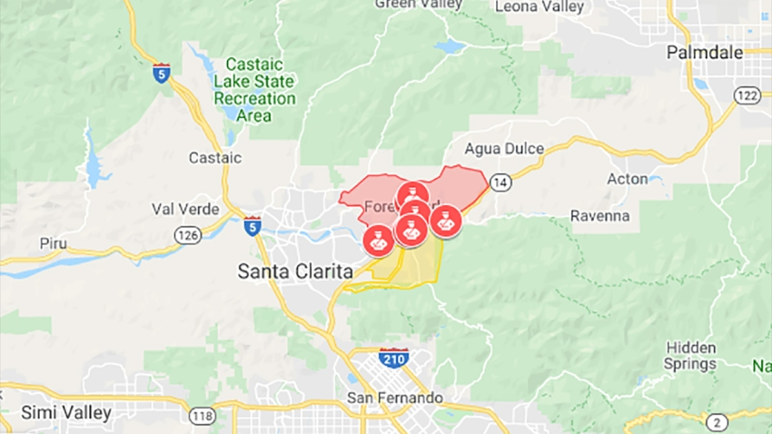 Santa Clarita Fire Map Maps: Where Wildfires Are Burning North of Los Angeles, Evacuation