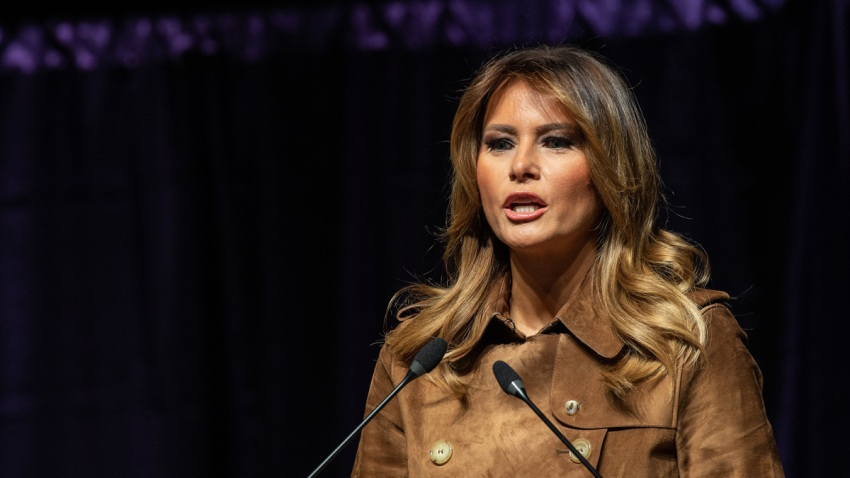 In this Nov. 26, 2019, file photo, first lady Melania Trump addresses the B'More Youth Summit in Baltimore, Maryland.